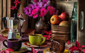 Picture leaves, flowers, apples, coffee, bouquet, mugs, still life, cake, asters, coffee maker