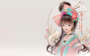 Picture girl, flowers, fantasy, anime, art, kimono, dadachyo, kanzashi