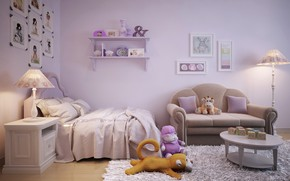 Picture room, toys, bed, pictures, children's