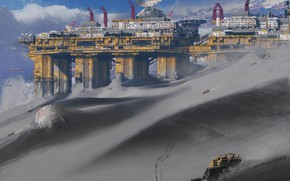 Picture transport, antenna, facilities, Sands, Industrial exo planet