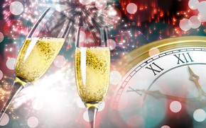 Picture watch, new year, glasses, fireworks, champagne, bokeh
