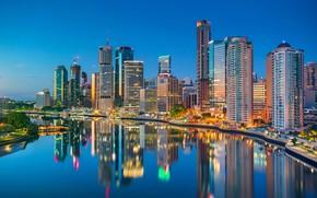 Picture reflection, river, building, home, Australia, promenade, skyscrapers, Australia, Queensland, Brisbane, Brisbane, QLD, The Brisbane River, …