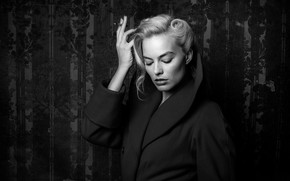 Picture black and white, actress, blonde, cigarette, beauty, blonde, fatal beauty, margot robbie, Margot Robbie, femme ...