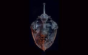 Picture Skull, Sword, Black background, Shield