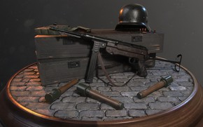 Picture weapons, art, WW2 German Soldier's Equipment, Rafael Maia Nicolazzi