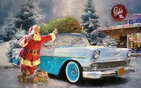 Wallpaper retro, Santa Claus, gifts, holiday, snow, winter, car, Santa Claus