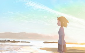 Picture sea, girl, nature