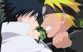 Picture anime, art, Naruto, Sasuke Uchiha, Naruto Uzumaki, the guy