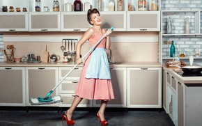 Picture girl, cleaning, kitchen, MOP