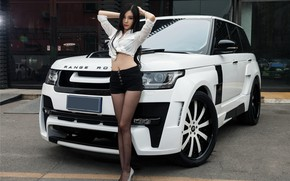 Picture look, Girls, Land Rover, Asian, beautiful girl, white car