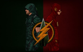 Picture crossover, hero, Arrow, Flash, yuusha, The Flash, CW