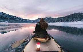 Picture girl, mountains, boat, girl, Canoeing, paddle, canoe, the mountains, jacket, paddle, down jacket, a boat