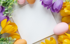 Picture flowers, Easter, flowers, spring, Easter, eggs, Happy