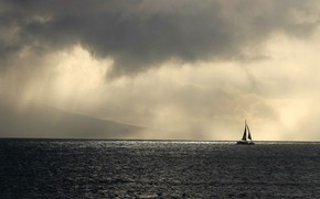 Picture sea, the sky, clouds, overcast, yacht