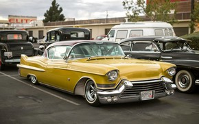 Wallpaper yellow, classic, Cadillac
