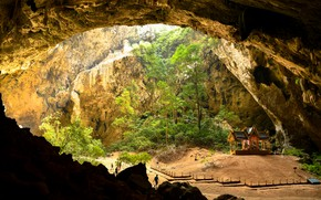 Picture the sun, trees, stones, people, rocks, Thailand, cave, gazebo, Phraya Nakhon Cave