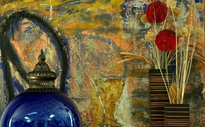 Picture flower, wall, vase, still life