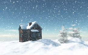 Picture winter, the sky, snow, trees, snowflakes, house, ate, the snow, Sunny