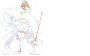 Picture wings, angel, art, girl, white background, Card Captor Sakura, Sakura - collector cards