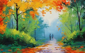 Picture landscape, lights, track, alley, falling leaves, date, a couple in love, in the distance, brush …