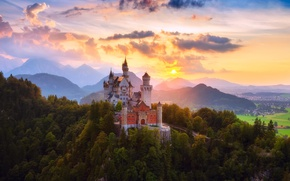 Picture summer, the sky, the sun, clouds, light, heat, castle, Germany, valley, forest