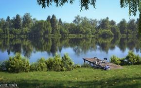 Picture bike, vegetation, the bridge, pond, amsterdamse park