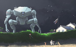 Picture beach, house, people, robot, Childrens Day