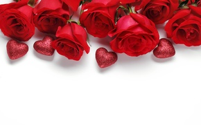Wallpaper flowers, roses, hearts, red, white background, Valentine's day