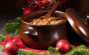 Picture balls, balls, mushrooms, tree, meat, New year, Christmas, decor, mushrooms, meat, bigos