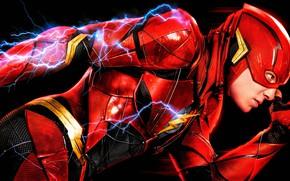 Wallpaper red, poster, The Flash, DC Comics, Justice League, sparks, Justice League, Flash, comic, fiction, black ...