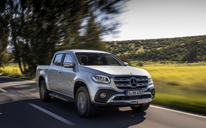 Picture road, field, trees, grey, movement, hills, Mercedes-Benz, silver, pickup, 2017, X-Class