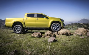 Picture the sky, stones, yellow, vegetation, Mercedes-Benz, pickup, 2017, X-Class