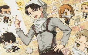 Picture cleaning, bucket, emblem, broom, shawl, military uniform, brick wall, Attack on Titan, Shingeki no Kyojin, …