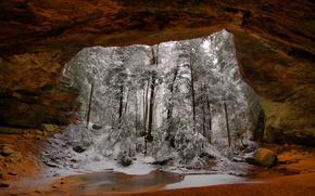 Wallpaper winter, snow, trees, rock, arch, USA, Ohio, Vinton
