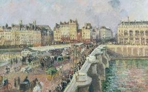 Picture Camille Pissarro, Pont-Neuf A Sunny Day, Paris, bridge, the urban landscape, picture