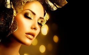 Picture girl, gold, model, makeup, decoration, Anna Subbotina