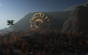 Picture forest, mountains, the portal, camera, Invasion Gate