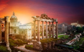 Picture sunset, the city, Rome, Italy, ruins, The Vatican, Roman Forum in Rome