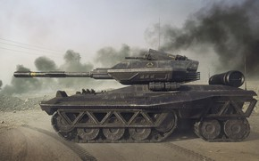 Picture weapons, transport, smoke, technique, TANK
