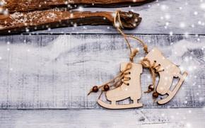 Picture winter, snow, decoration, tree, New Year, Christmas, Christmas, wood, winter, snow, skates, Merry Christmas, Xmas, …