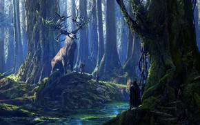 Picture forest, river, people, beast, Cernunnos and his Druids