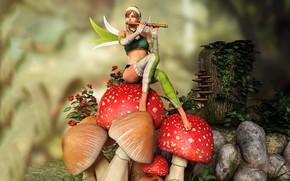 Picture girl, mushrooms, fairy, flute