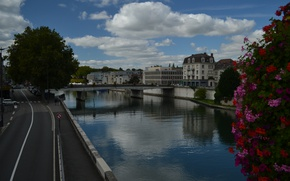 Picture France, Clouds, The evening, Road, River, Street, Channel, Building, Flowers, Clouds, Bridge, Flowers, France, Street, …