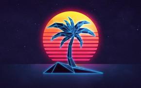 Picture sea, the sky, the sun, sunset, Palma, island, neon, 80s, neon, 80s neon style, Digital …