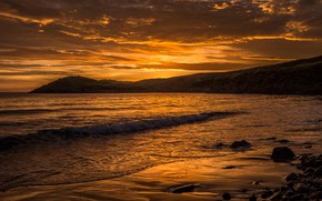Picture sea, the sky, clouds, sunset, stones, coast, UK, Wales
