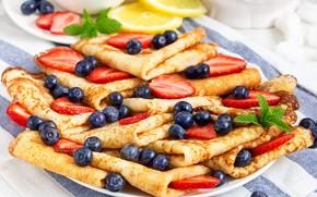 Picture berries, lemon, strawberry, pancakes, blueberries