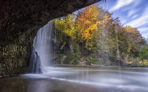 Picture autumn, trees, lake, waterfall, the grotto