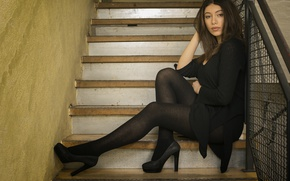 Picture girl, steps, legs, beauty, sitting, Jacki