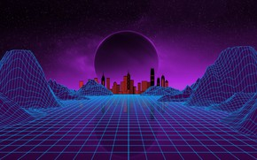 Picture Music, The city, Stars, Neon, Planet, Space, Background, Electronic, Synthpop, Darkwave, Synth, Retrowave, Synth-pop, Sinti, ...