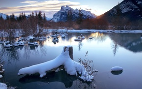 Picture winter, lake, morning